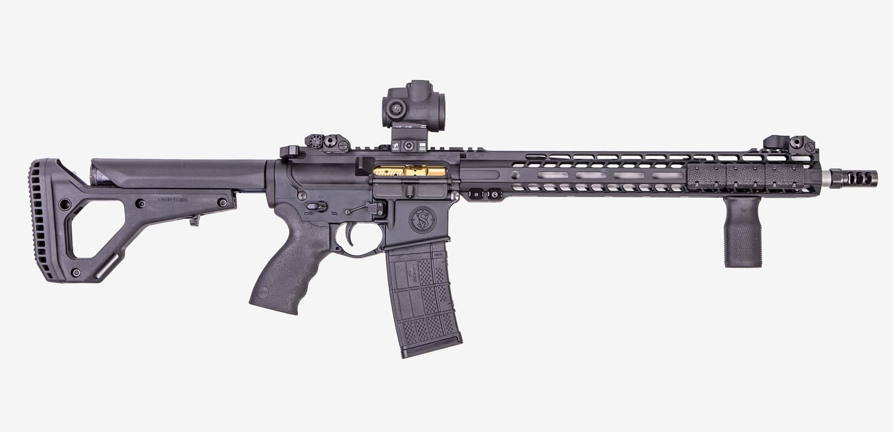 ar rifle sv-16 side profile, front of rifle is pointing to right, right side can be seen